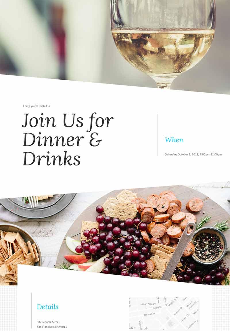 Nightlife - Dinner Party - Modern Invitation
