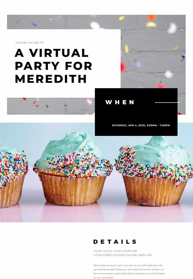 Pet Party - Virtual Birthday - Classic Invitation