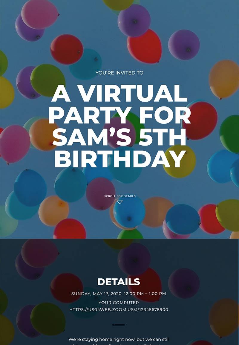 Graduation - Child's Virtual Birthday - Immersive Invitation