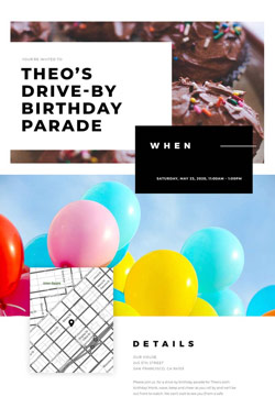 Kid's Birthday - Drive-by Birthday - Classic Invitation