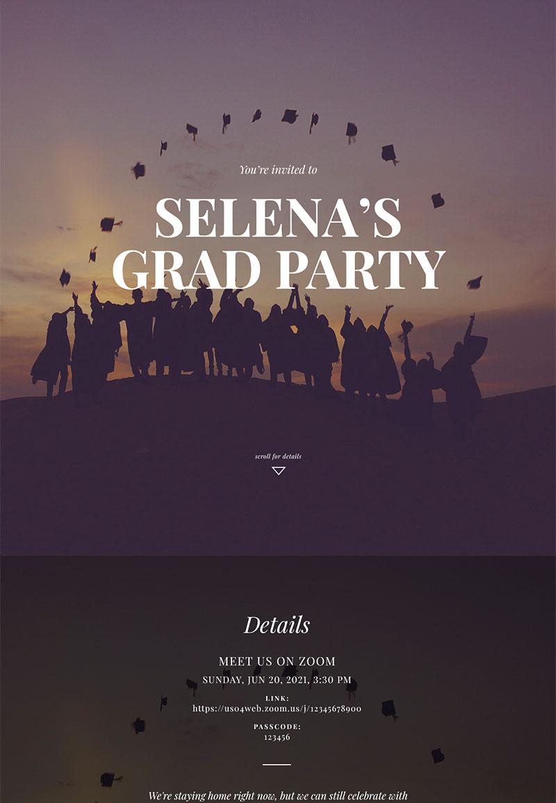 Graduation - Virtual Grad Party - Immersive Invitation