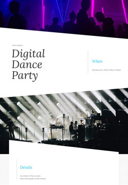 Nightlife - Digital Dance Party - Modern Invitation