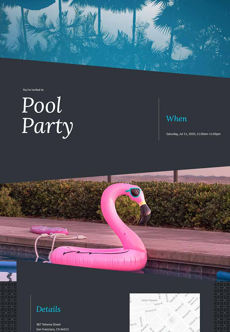 Baby Shower - Pool Party - Modern Invitation